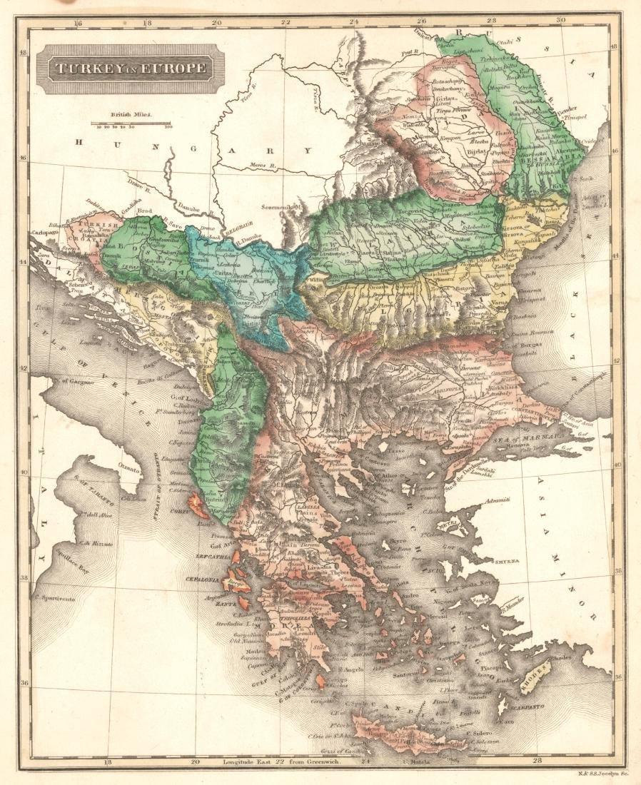 Jocelyn: Antique Map of Turkey in Europe, 1822