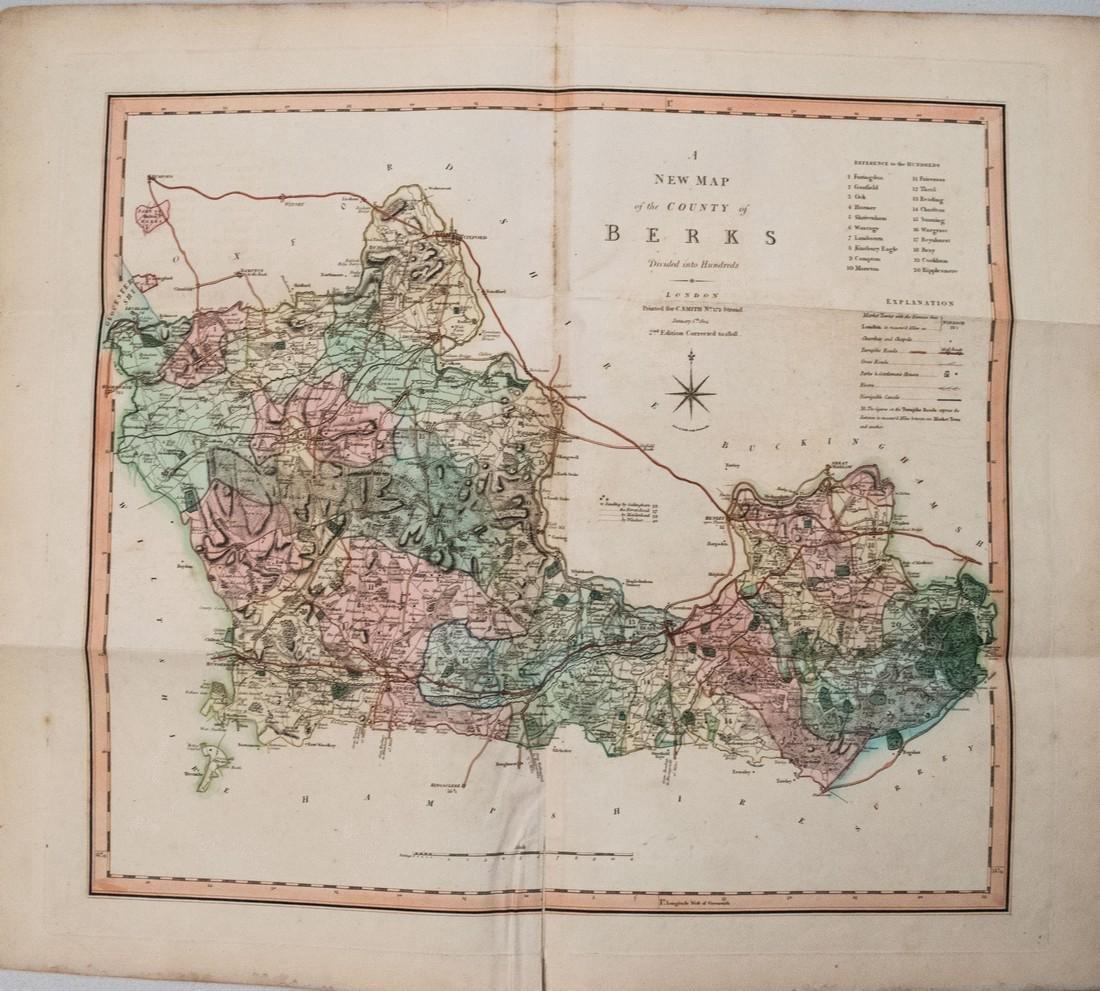 Smith: Antique Map of Berkshire UK, 1808
