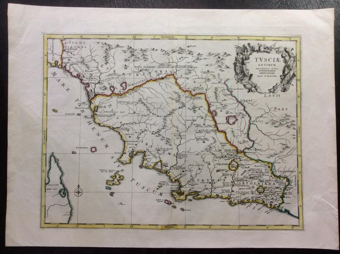 Martier: Antique Map of Ancient Tuscany, 1705