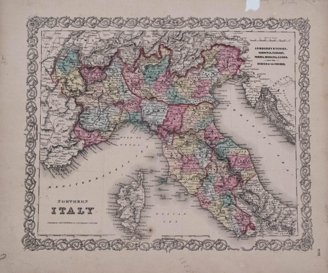 Colton: Antique Map of Northern Italy, 1855