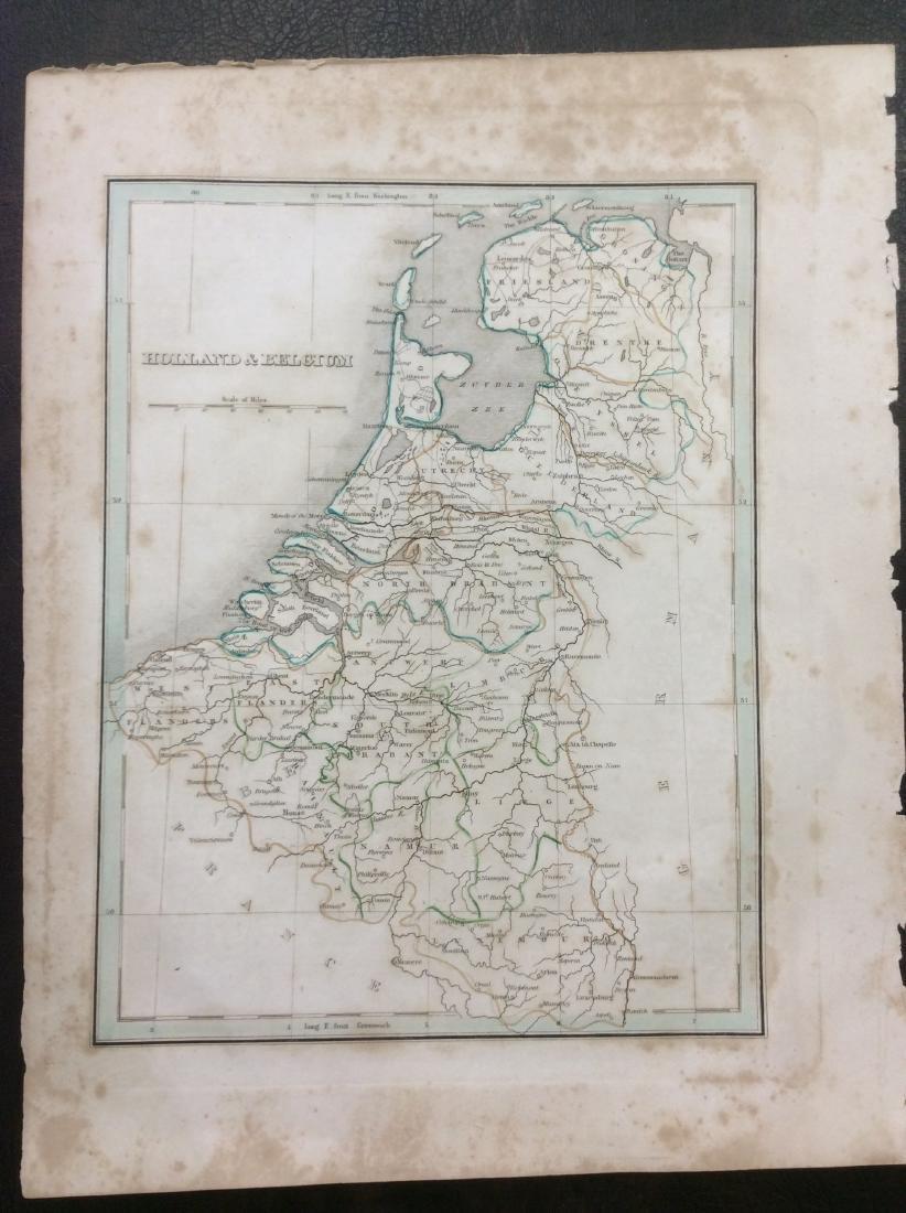 Bradford: Antique Map of Holland & Belgium, 1835