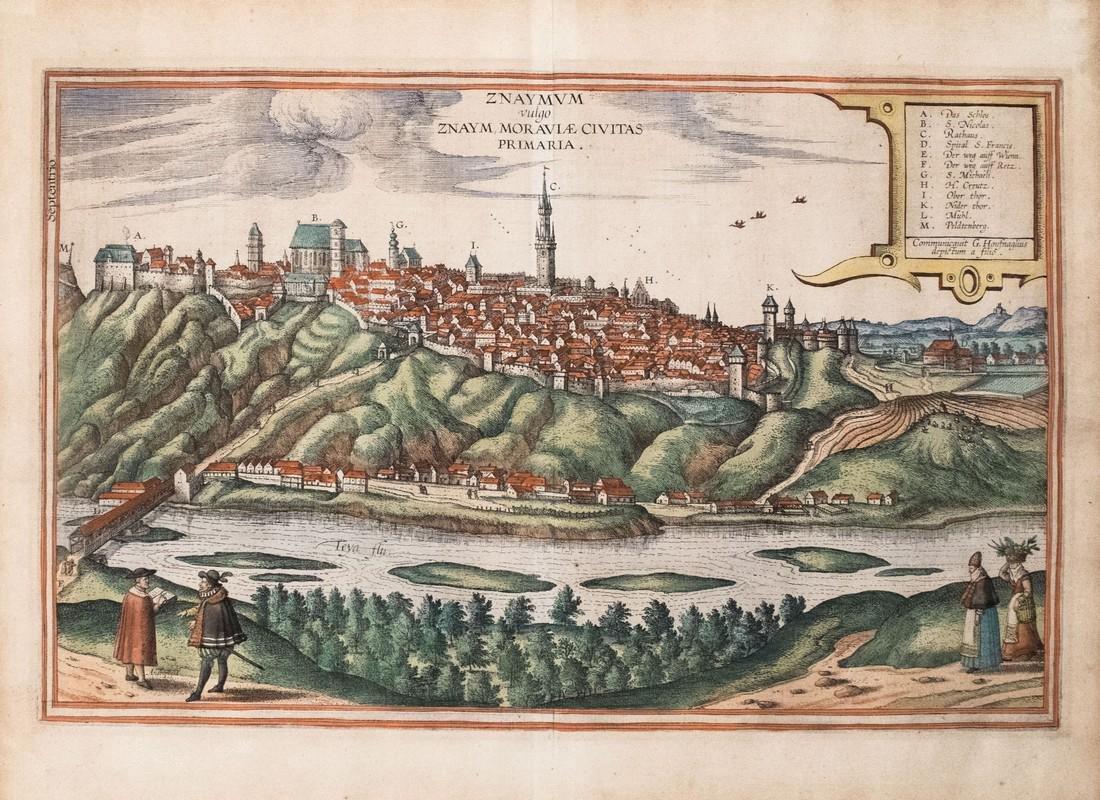 Braun & Hogenberg: Antique View of Znojmo, 1617