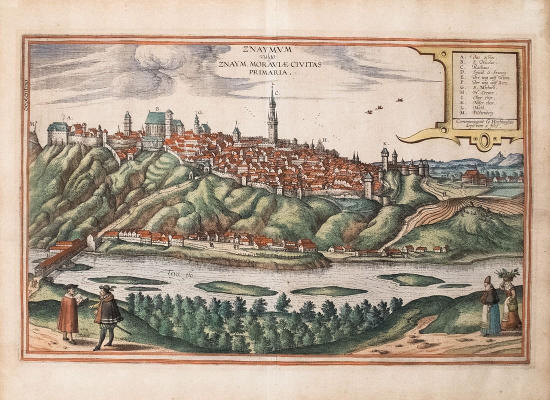 Braun & Hogenberg: Antique View of Znojmo, 1617