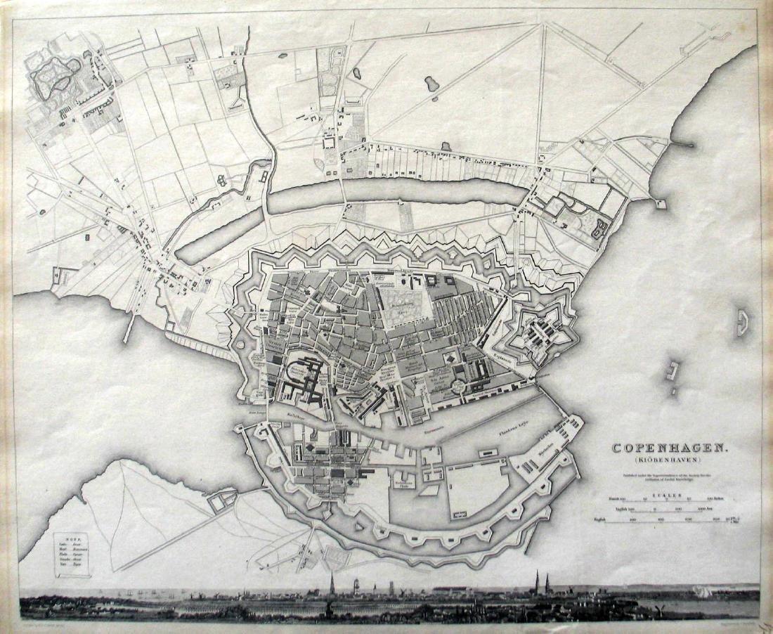 SDUK: Antique Map of Copenhagen Denmark, 1837