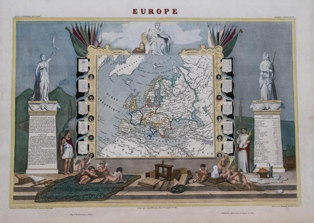 Levasseur: Antique Map of Europe, 1861