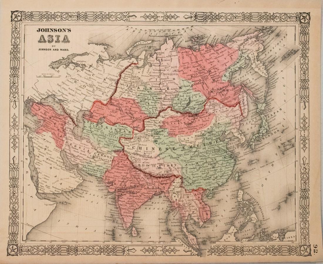 Johnson: Antique Map of Asia, 1864