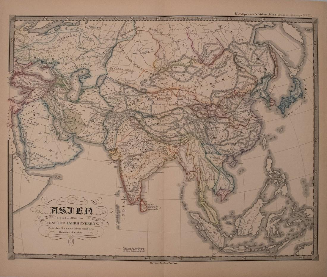 Perthes: Antique Map of Asia in 15th Century, 1855