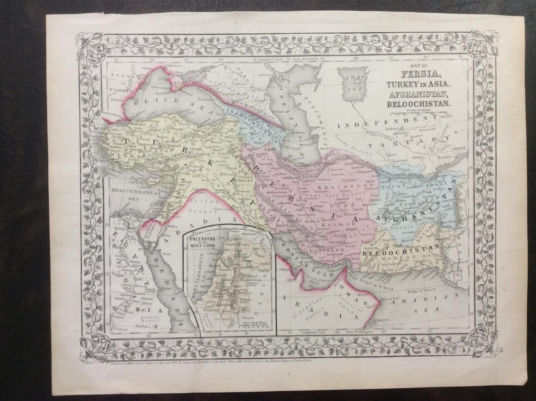 Mitchell: Antique Map of Perisa Turkey Afghanistan 1869