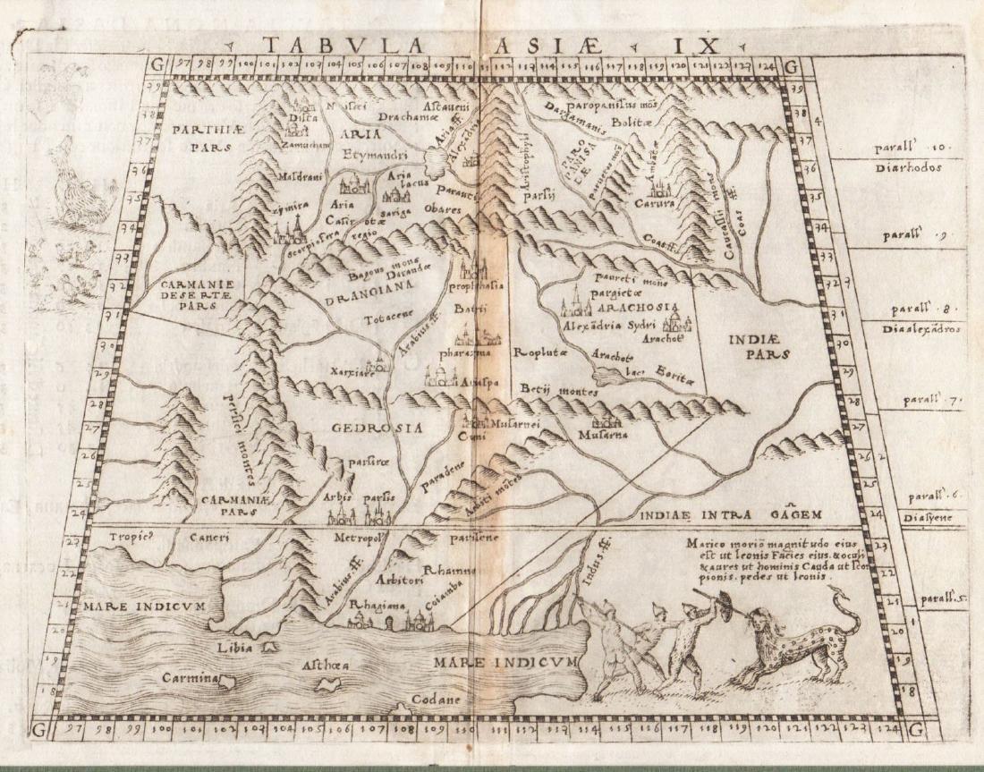 Antique Ptolemaic Map of Pakistan/Indus River, 1597
