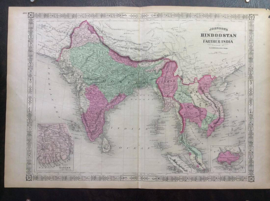 Johnson: Antique Map of Hindoostan & Farther India 1868