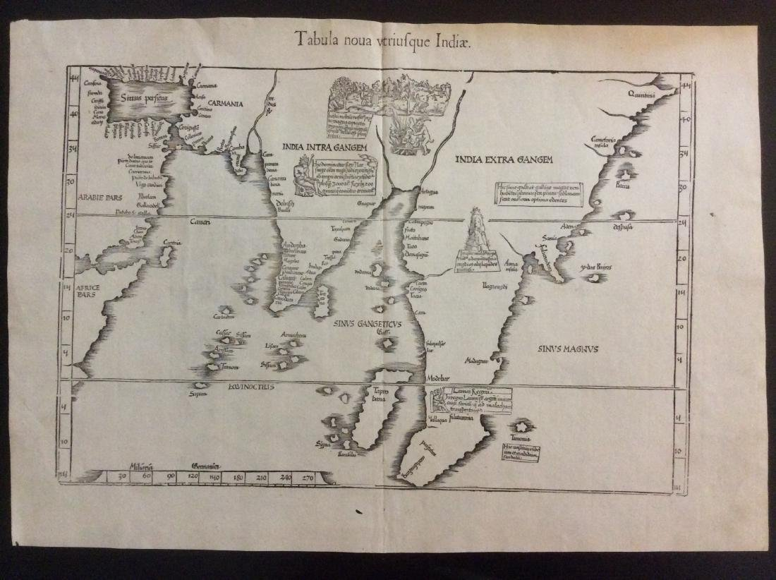 Antique Map of India into Southeast Asia, 1541