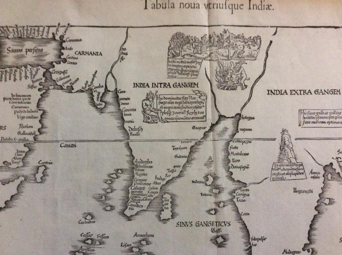Antique Map of India into Southeast Asia, 1541 - 2