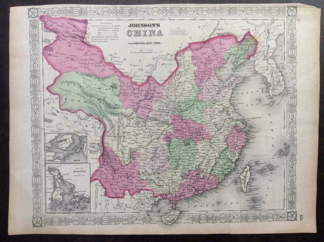 Johnson: Antique Map of China, 1868