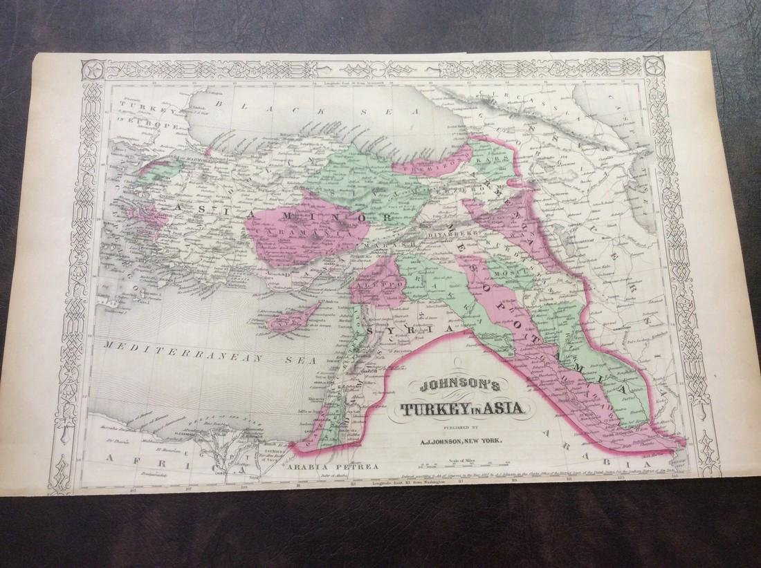 Johnson: Antique Map of Turkey in Asia, 1868