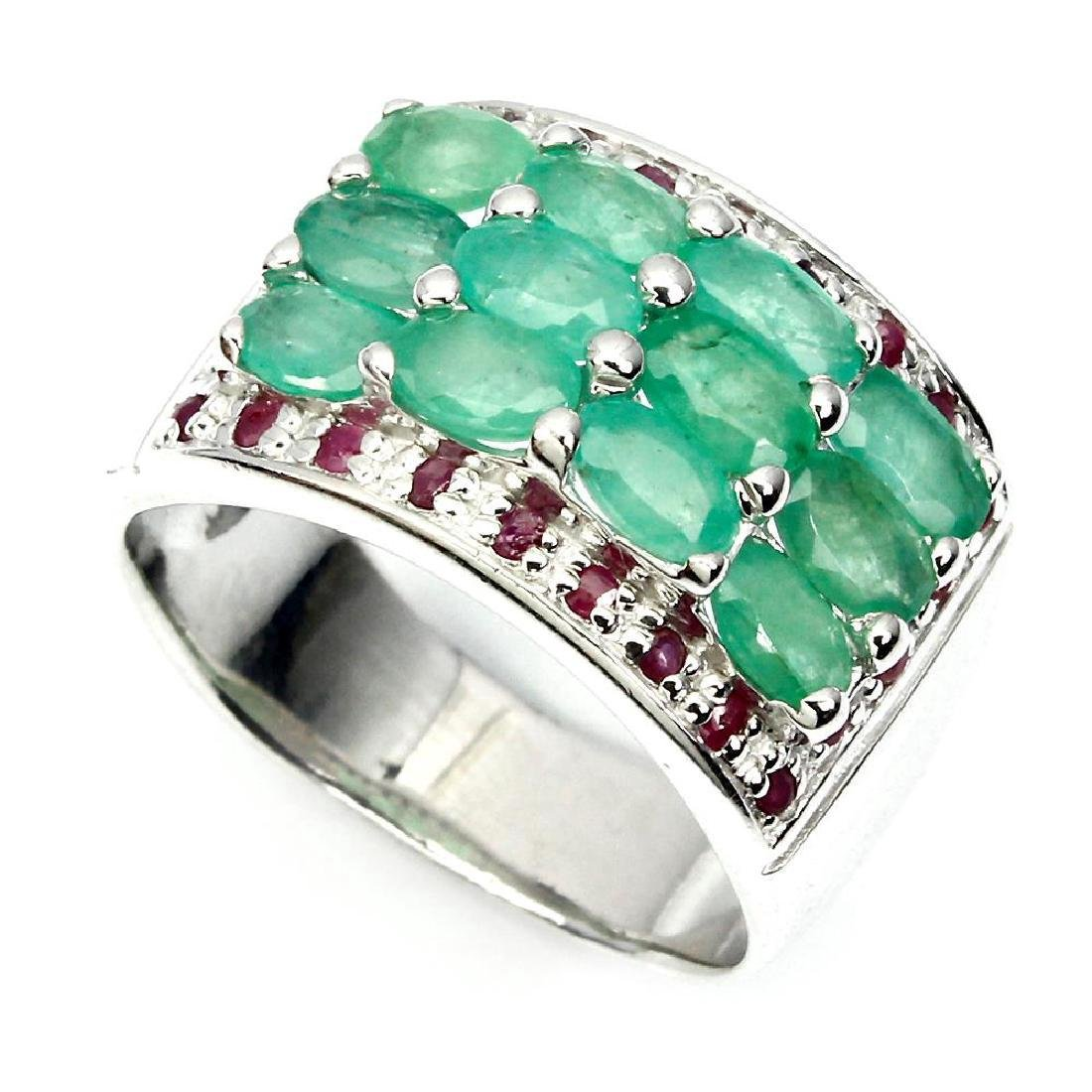 Sterling Silver Emerald Ruby Ring, 2.73ctw