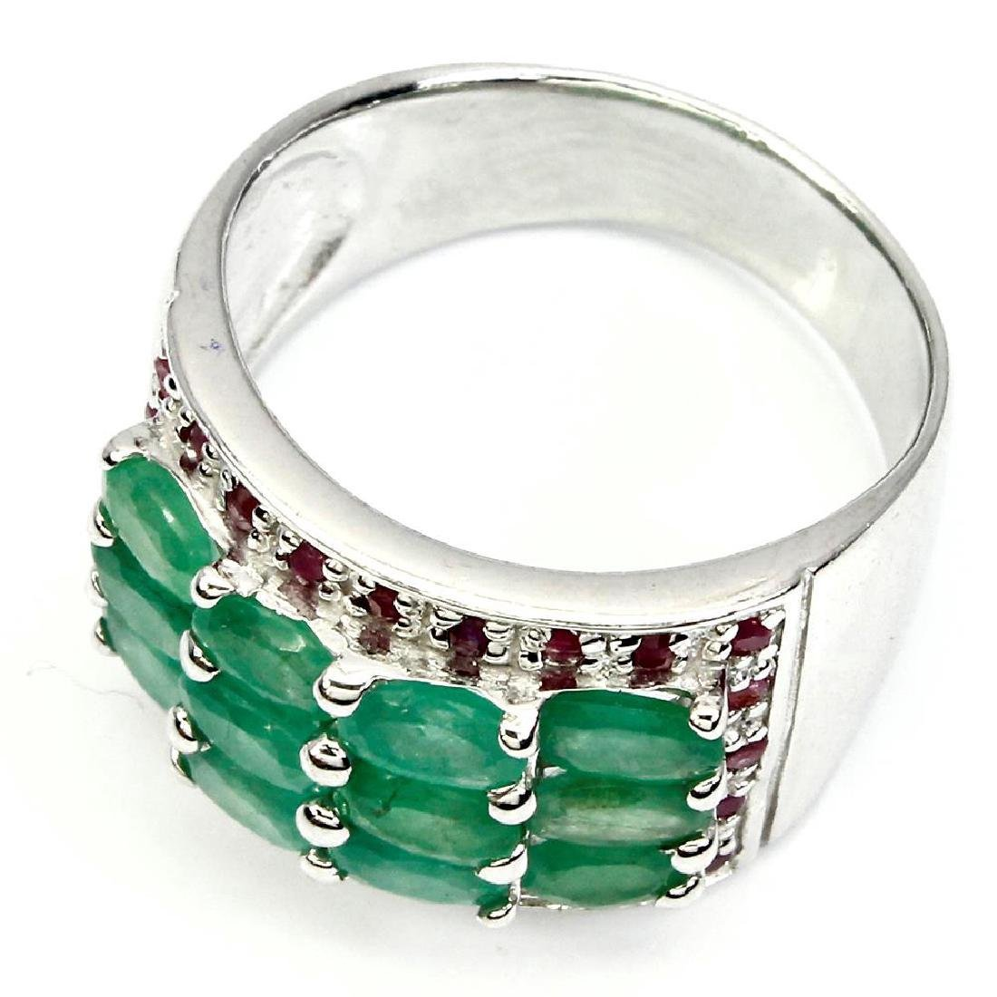 Sterling Silver Emerald Ruby Ring, 2.73ctw - 3
