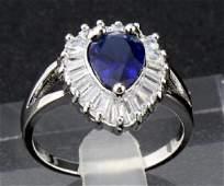 Antique 14K Gold Sapphire Diamond Ring, 2.35ctw