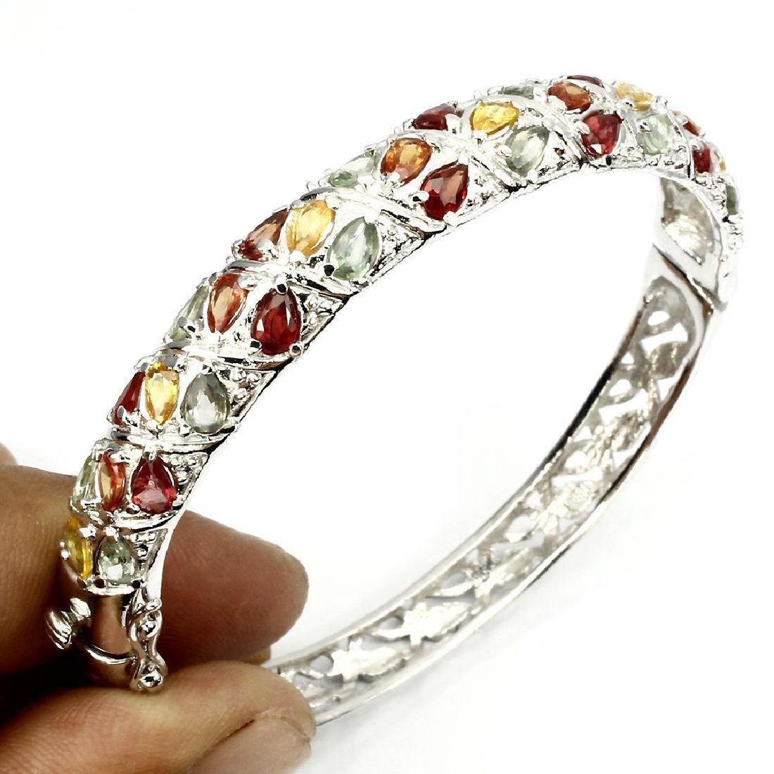 Sterling Silber Multicolor Sapphires Bracelet, 9.28ctw