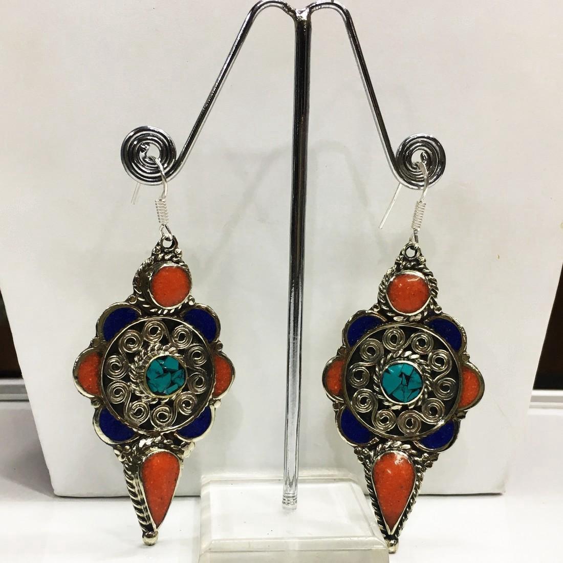 Tibetan Silver Red Coral Turquoise Handmade Earrings - 3