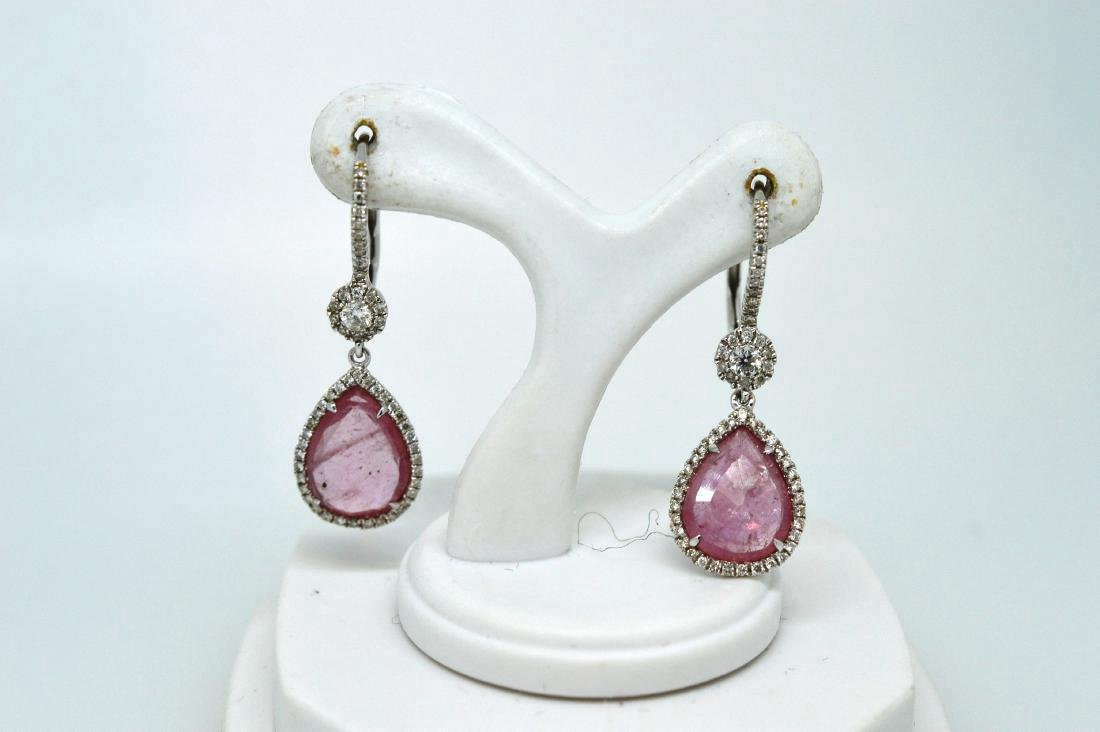 Ladies 14k White Gold Rose Quartz Diamond Drop Earrings