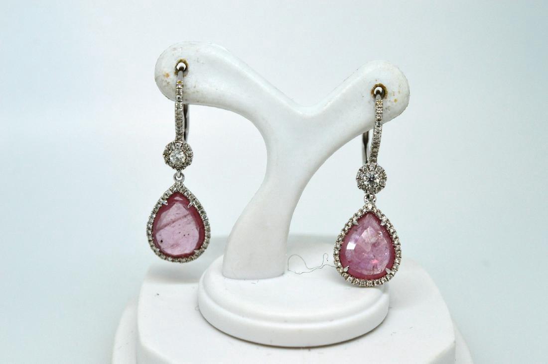 Ladies 14k White Gold Rose Quartz Diamond Drop Earrings
