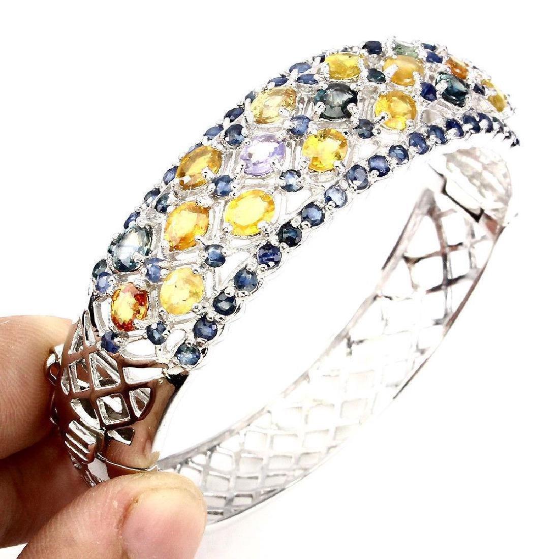 Sterling Silver Multicolor Sapphire Bracelet, 11.45ctw