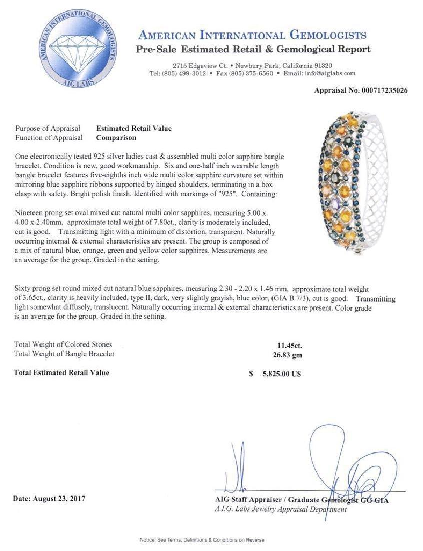 Sterling Silver Multicolor Sapphire Bracelet, 11.45ctw - 2