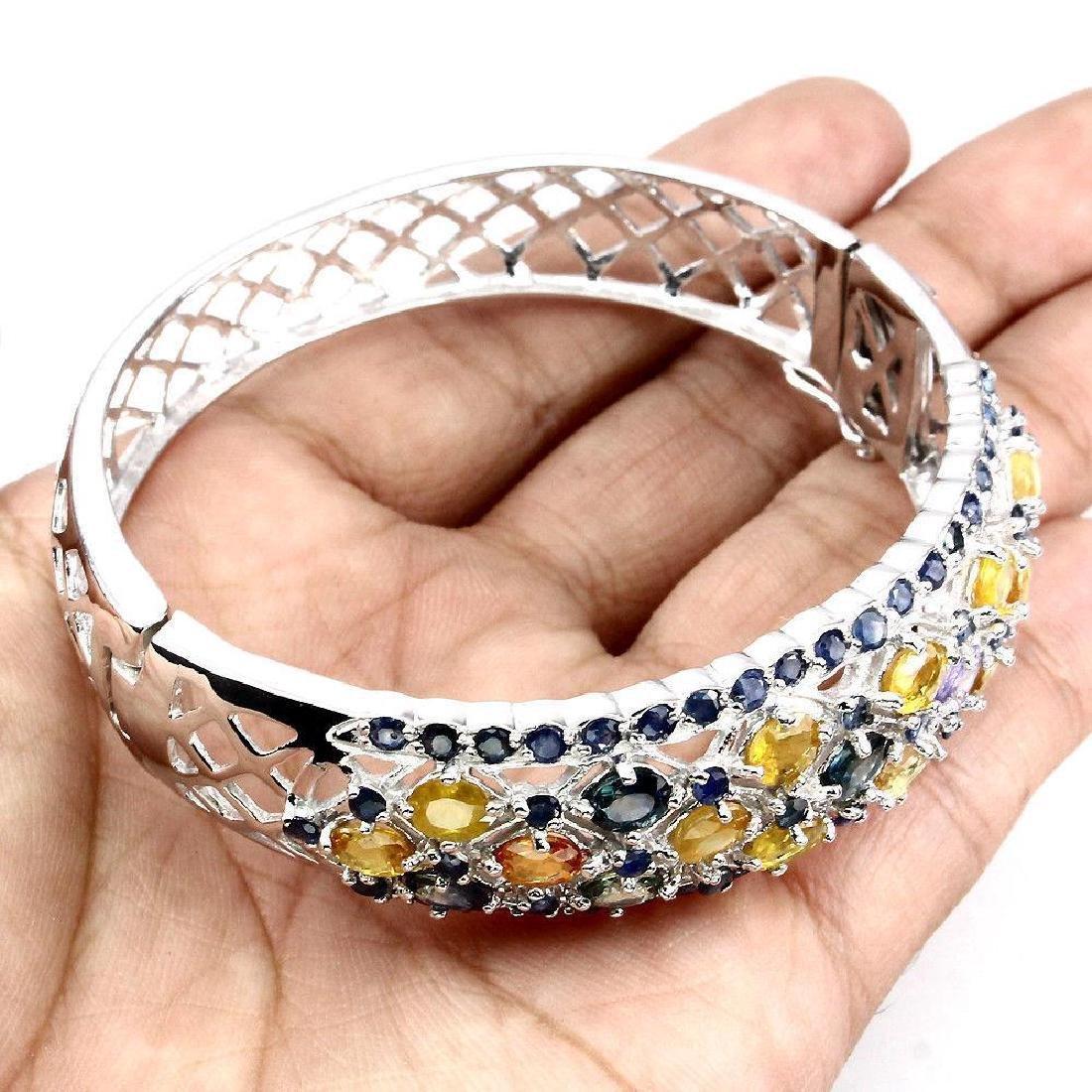 Sterling Silver Multicolor Sapphire Bracelet, 11.45ctw - 3