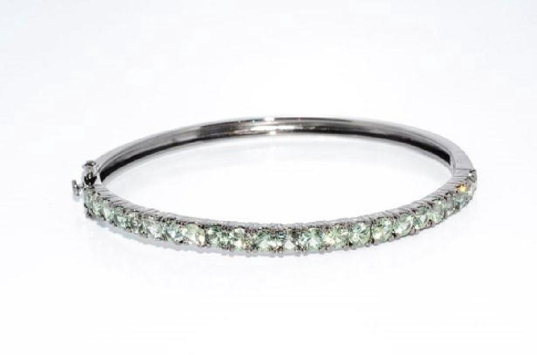 Sterling Silver Green Sapphire Bangle Bracelet, 5.92ctw