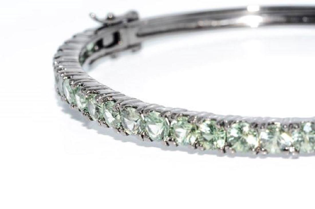 Sterling Silver Green Sapphire Bangle Bracelet, 5.92ctw - 3