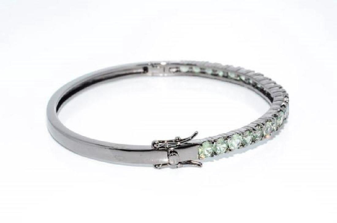 Sterling Silver Green Sapphire Bangle Bracelet, 5.92ctw - 4