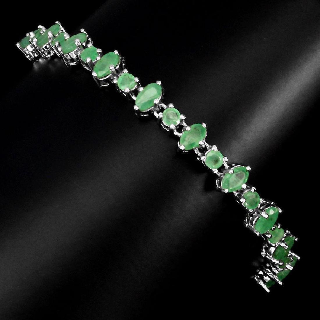 Sterling Silver Emerald Bracelet, 3.27ctw