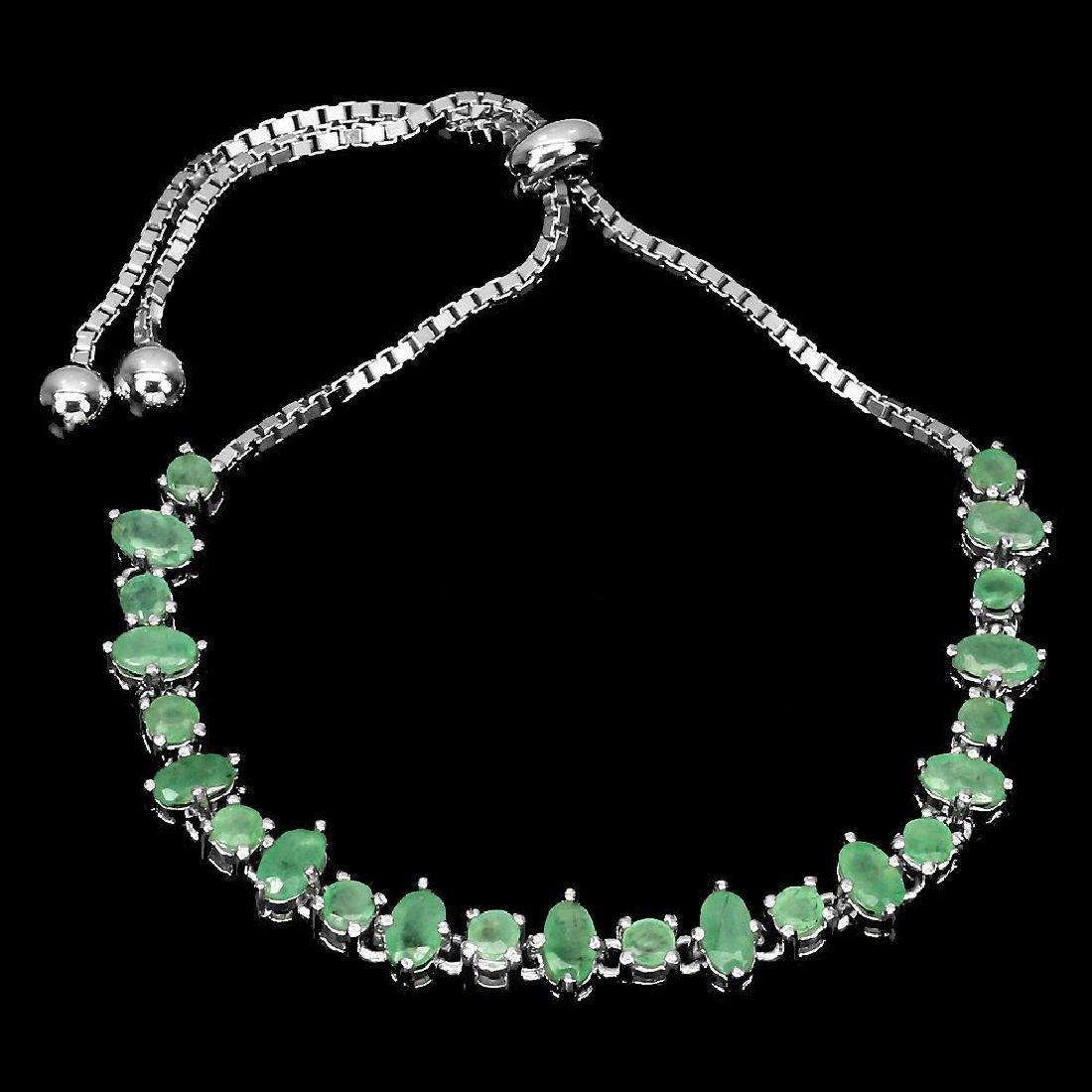 Sterling Silver Emerald Bracelet, 3.27ctw - 3
