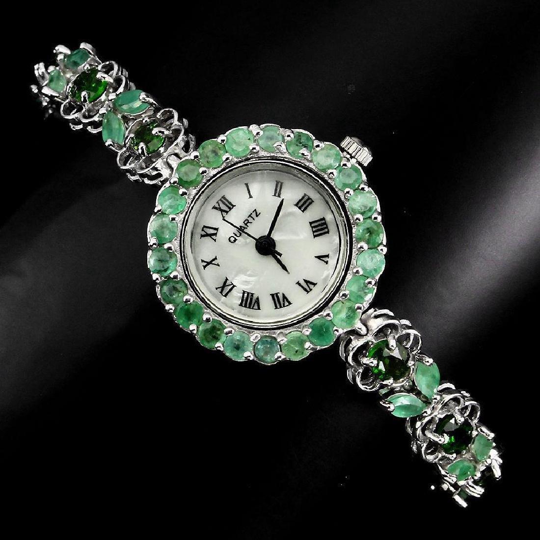 Sterling Silver Emerald & Tourmaline Watch, 8.11ctw