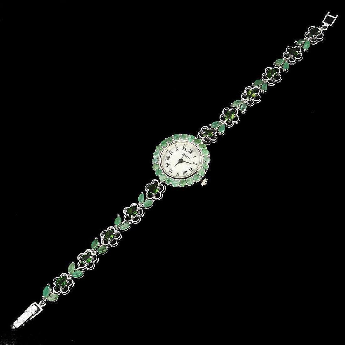 Sterling Silver Emerald & Tourmaline Watch, 8.11ctw - 3