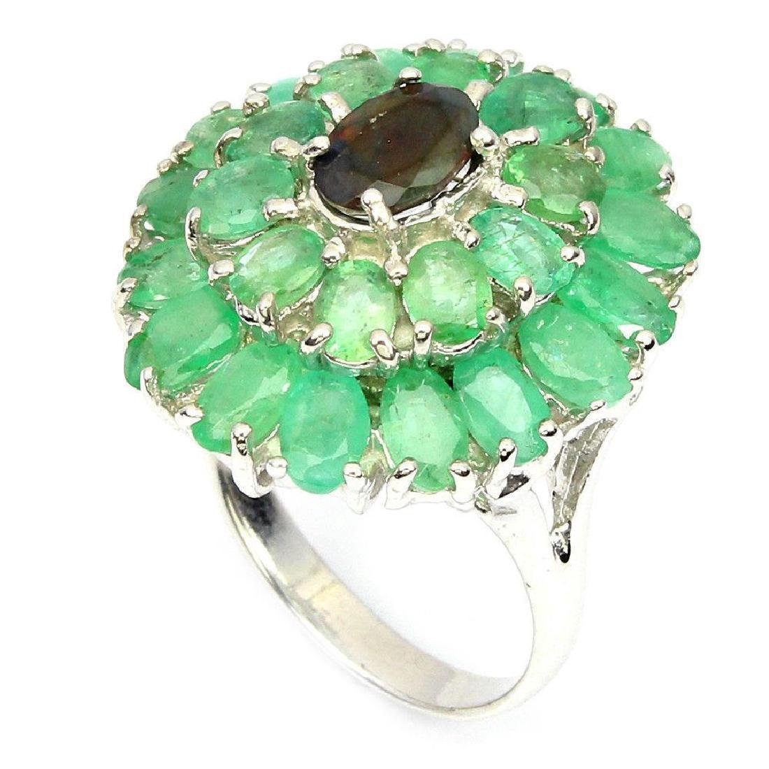 Sterling Silver Black Opal & Emerald Ring, 4.80ctw