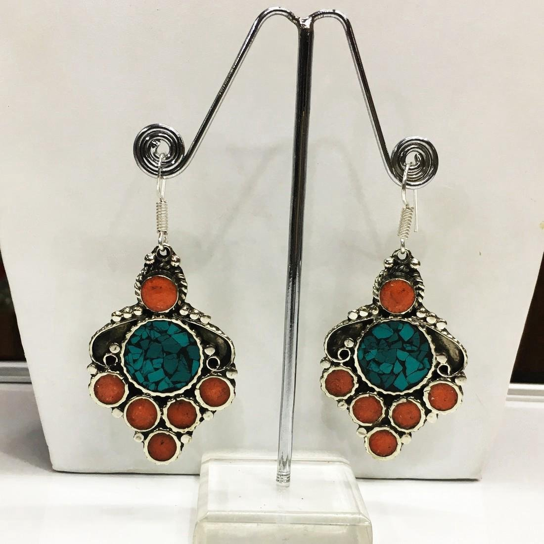 Vintage Ethnic Tibetan Silver Turquoise Coral Earrings - 2