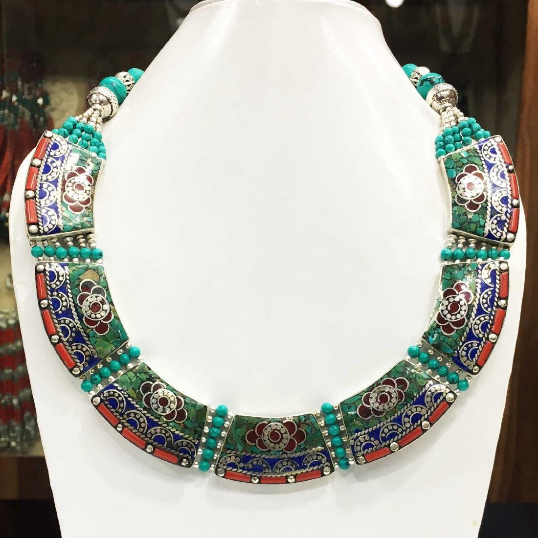 Nepalese Silver Coral Turquoise Handmade Necklace
