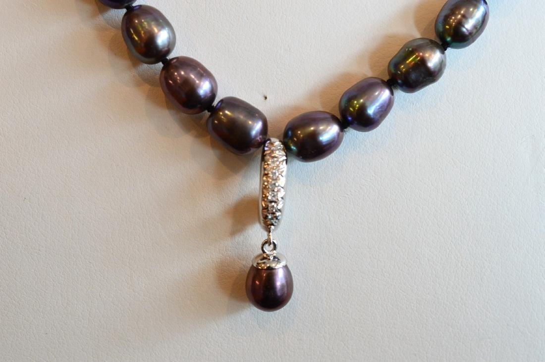 Ladies 14K Gold Dark Pearl Diamond Necklace & Pendant - 2