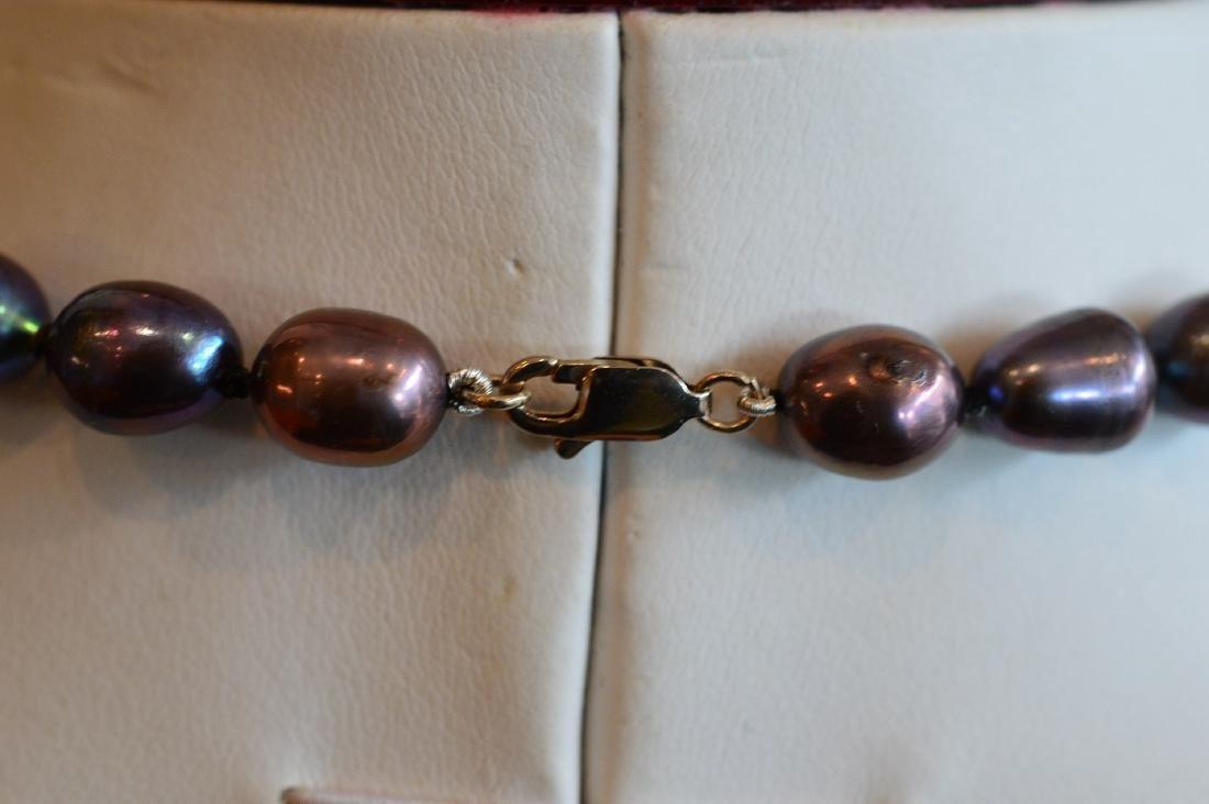 Ladies 14K Gold Dark Pearl Diamond Necklace & Pendant - 3