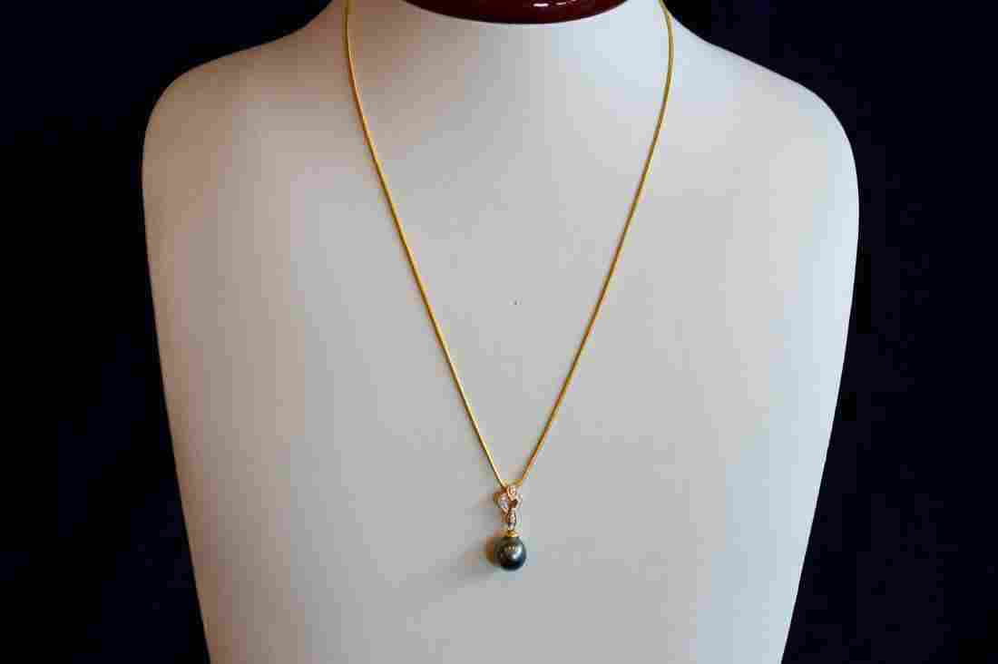 Ladies 14k Yellow Gold Tahtian Pearl Diamond Necklace