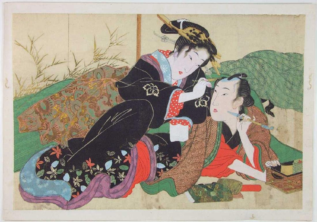 Eisen Keisai Woodblock Lovers #A