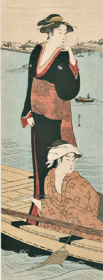Eishi Chobunsai Woodblock Beauties in a Boat