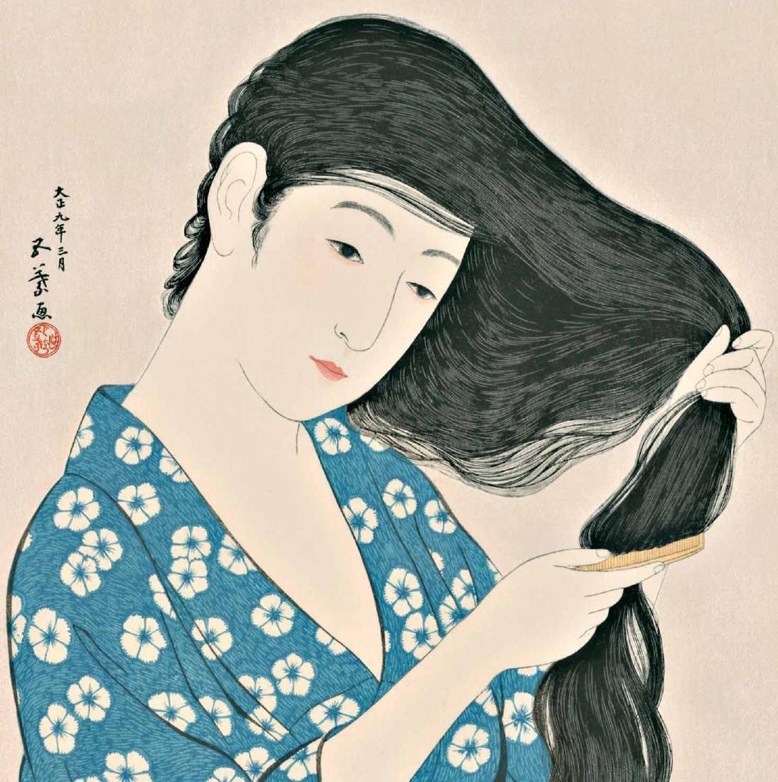 Goyo Hashiguchi Woodblock Combing Her Hair - 2