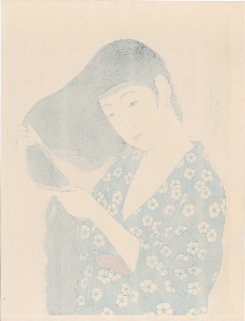 Goyo Hashiguchi Woodblock Combing Her Hair - 3
