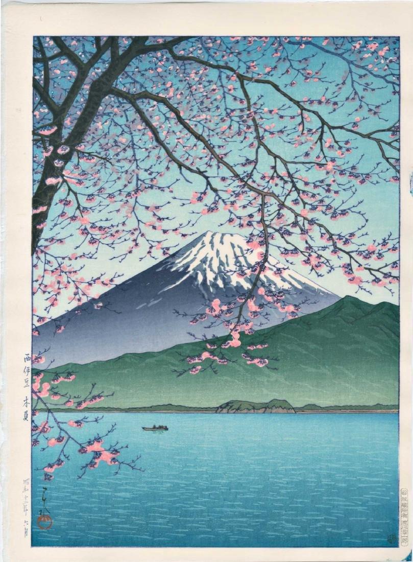 Hasui Kawase Woodblock Mt. Fuji from Kishio