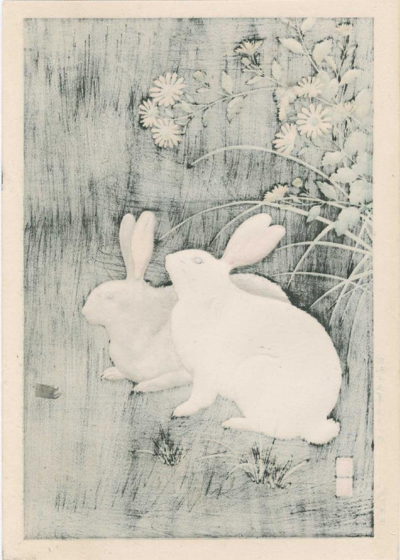Hodo Nishimura First Edition Woodblock Rabbits Night - 3