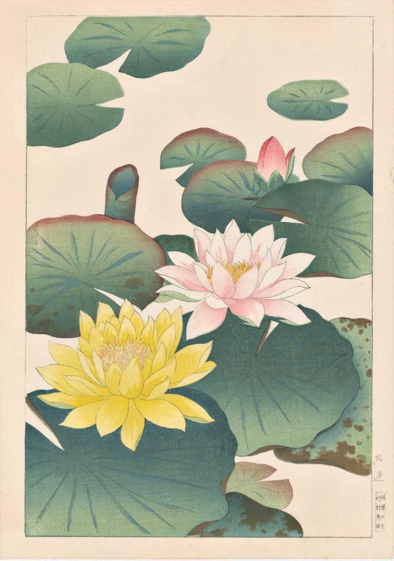 Hodo Nishimura Woodblock Lotus Blossoms