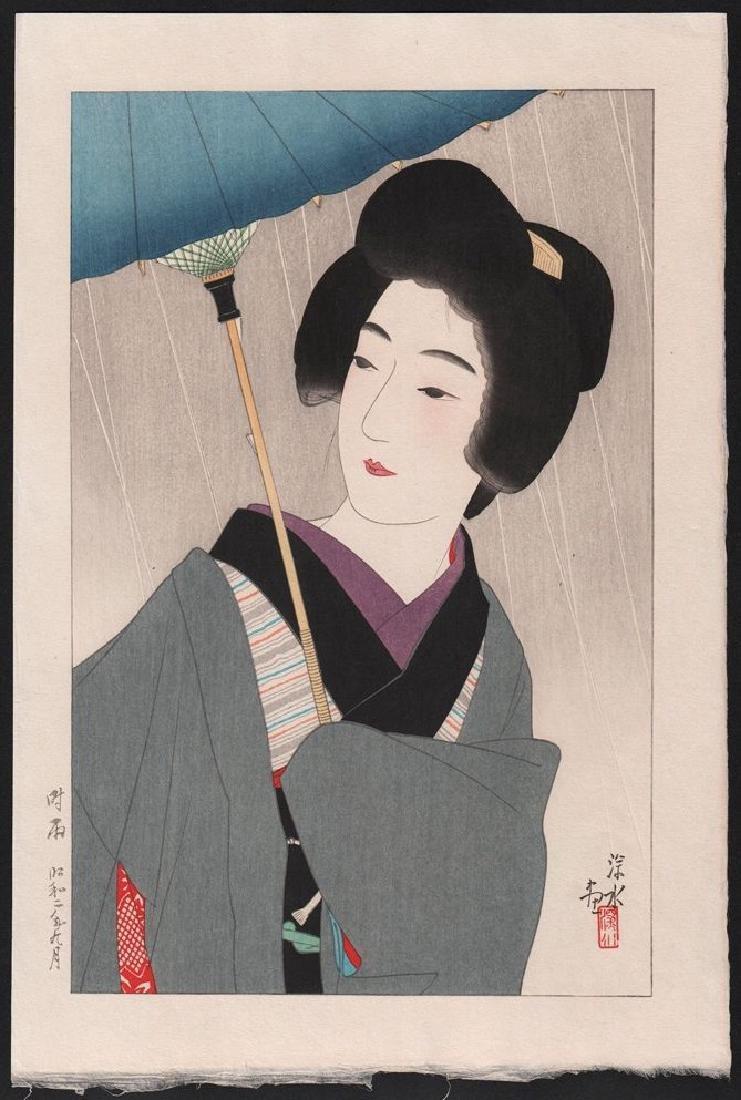Ito Shinsui Woodblock Drizzling Rain