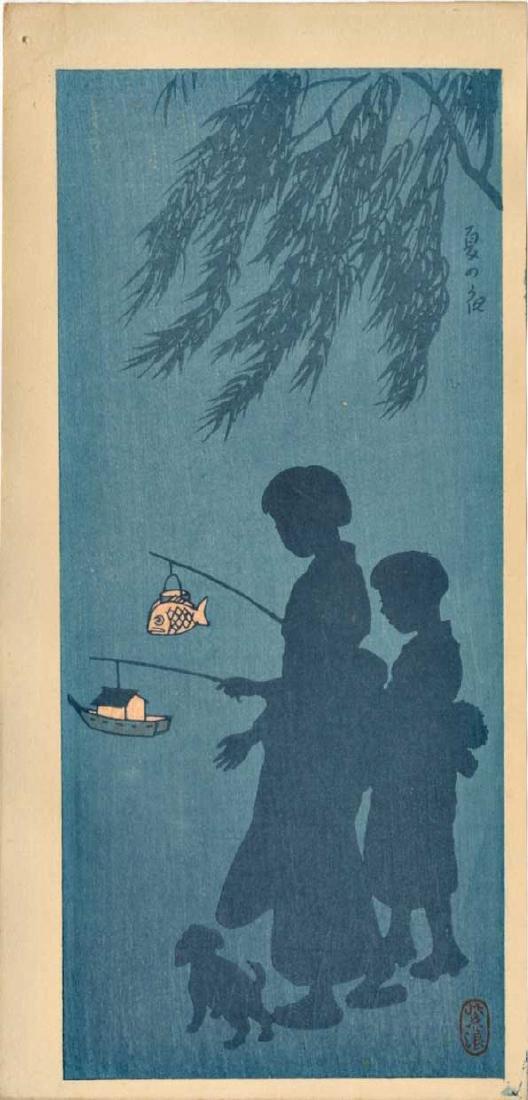 Kasamatsu Shiro Woodblock Children with Lanterns